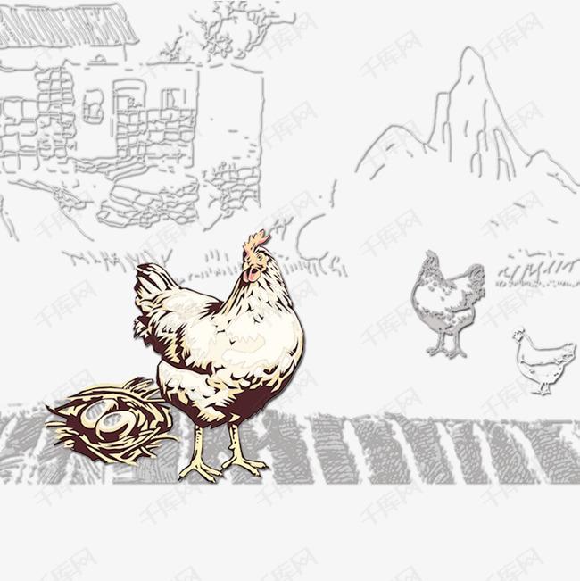手绘母鸡下蛋