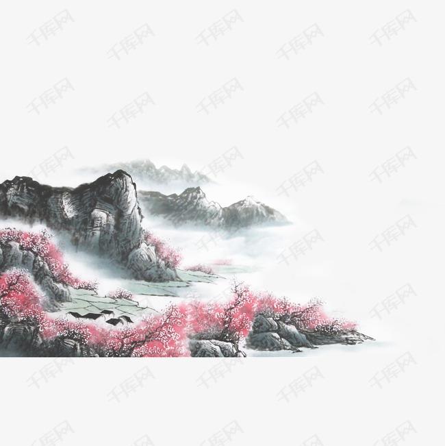 中国风水墨山水烟雨桃花素材