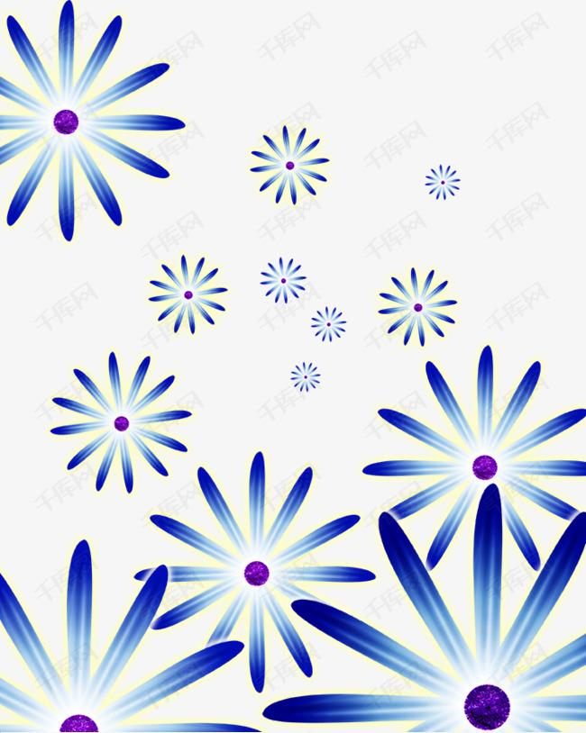 蓝色几何花