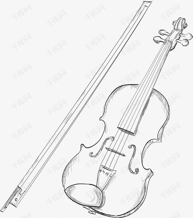 手绘小提琴素材图片免费下载 高清psd 千库网 图片编号7995660