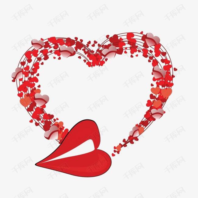大红装饰爱心设计元素