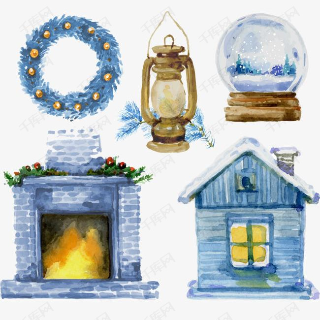 圣诞房屋与油灯