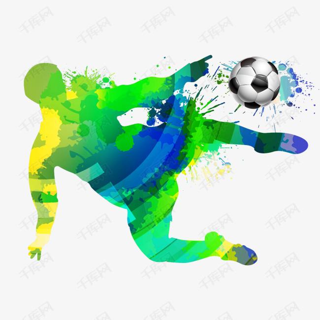 正在踢足球的世界杯运动员矢量