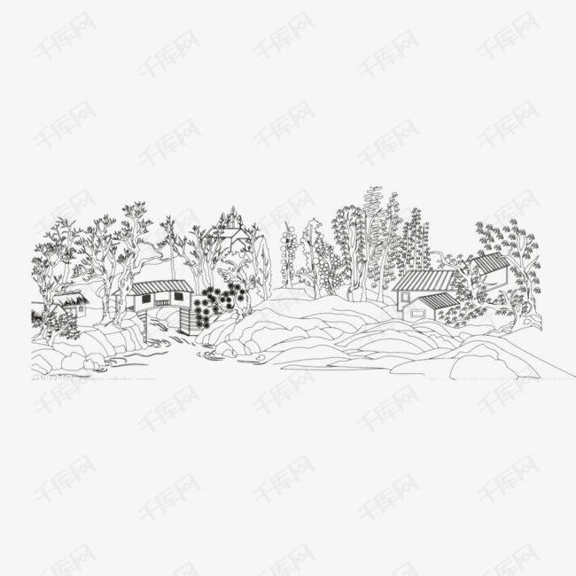 手绘农家画的素材免抠手绘山水山水画山水简笔画简笔山水画简笔画简笔画农家