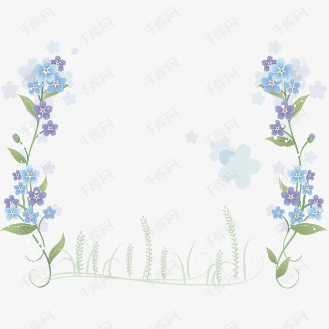 手绘蓝色鲜花边框的素材免抠卡通手绘矢量ai蓝色鲜花花朵花边边框绿草花朵底纹
