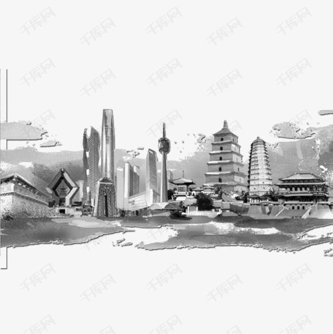 黑白手绘建筑
