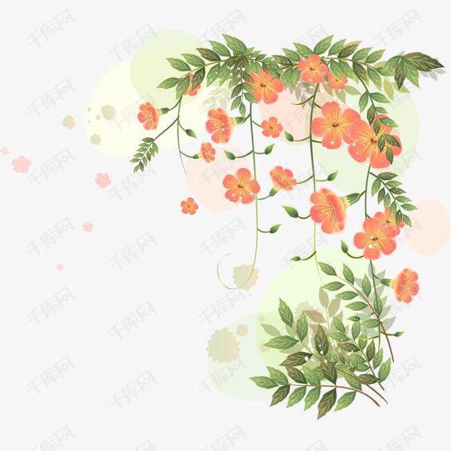 手绘小花的素材免抠手绘小花橘色叶子花卉花丛