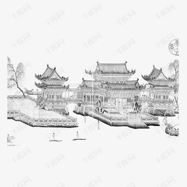 手绘古楼建筑的素材免抠水墨中国风水墨古楼房子建筑古楼国画手绘素