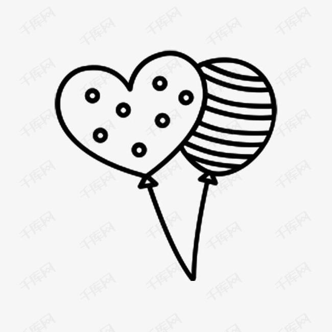 心型气球简笔画素材图片免费下载 高清png 千库网 图片编号8441215
