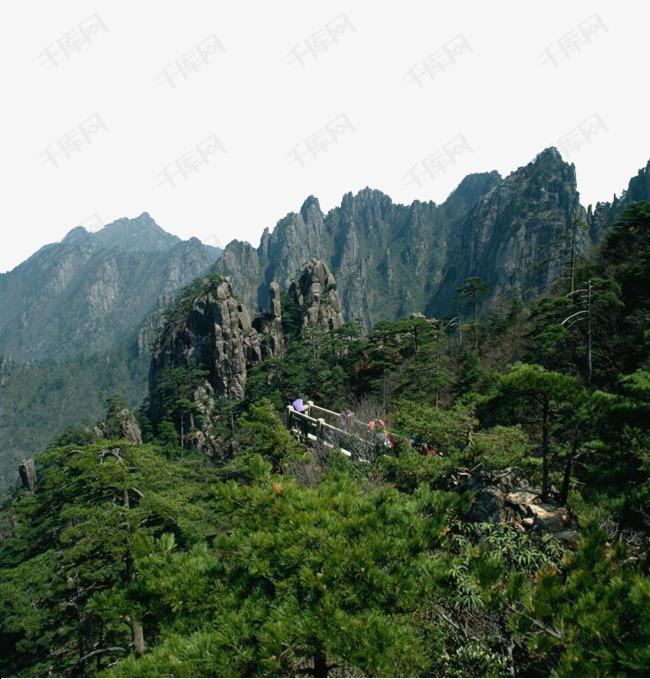 黄山美景高耸的山峰