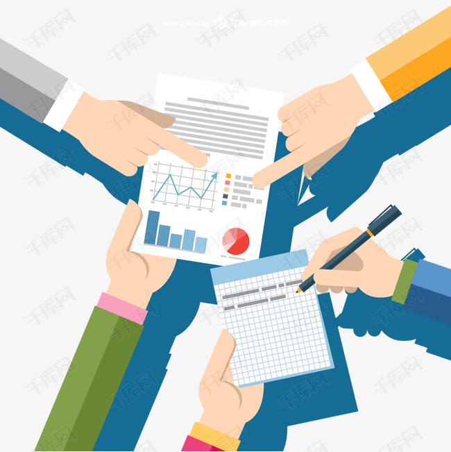 商人的手指向一个报告图片下载