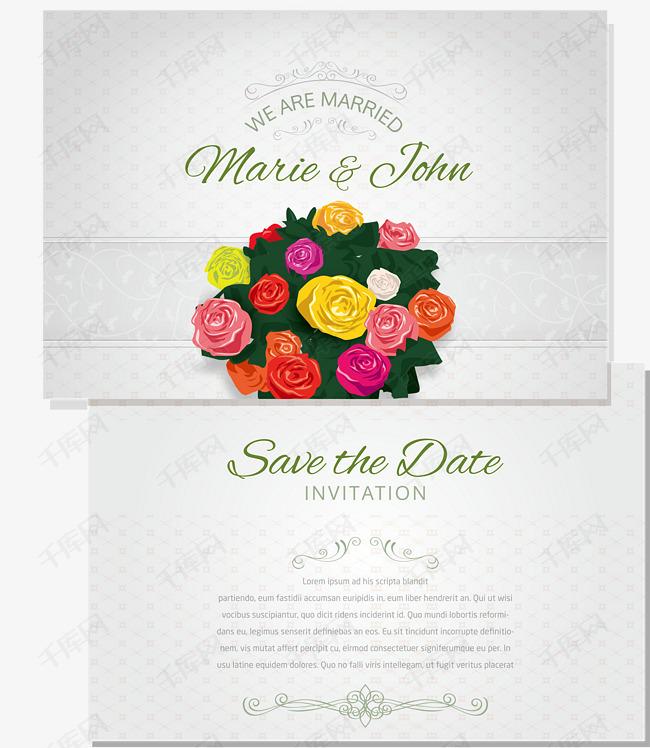 婚礼贺卡矢量