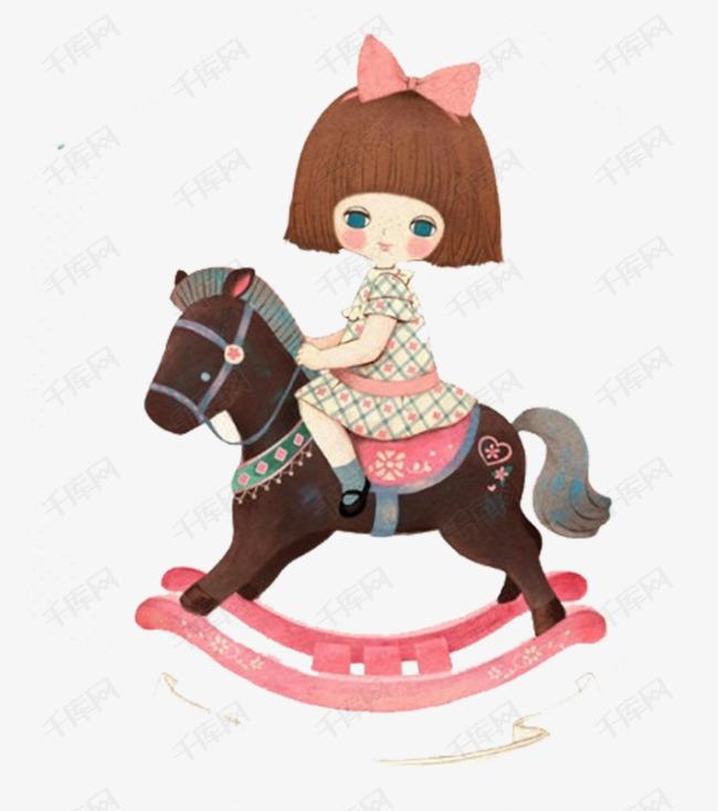 骑着木马的小女孩