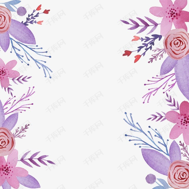 水彩花花边图片