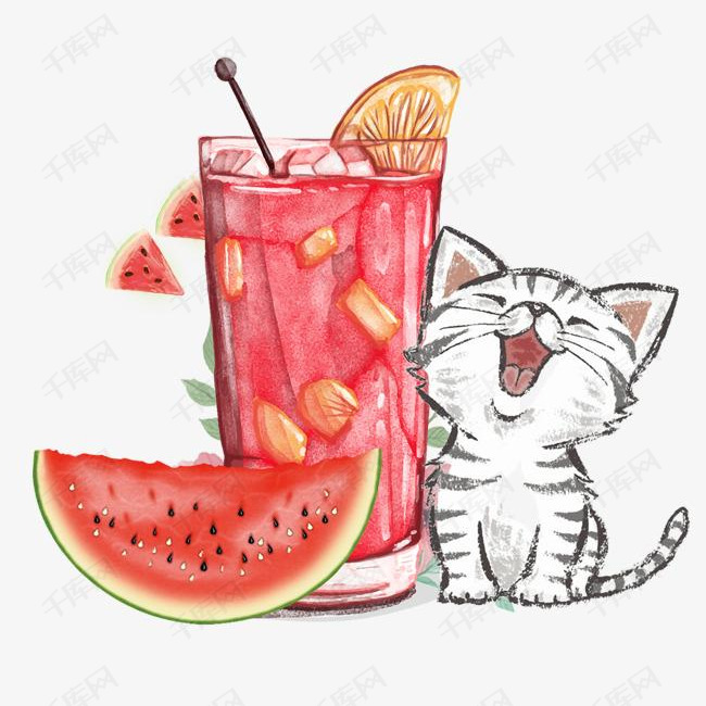 免抠手绘西瓜汁饮品