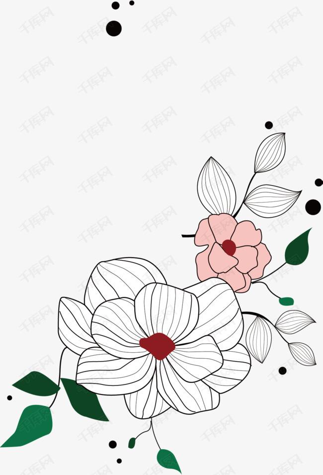 手绘线描花卉素材图片免费下载 高清装饰图案png 千库网 图片编号图片