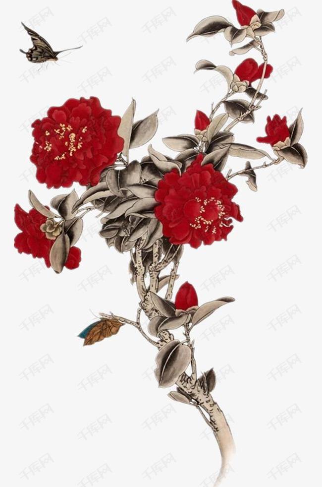 手绘红色大红花素材