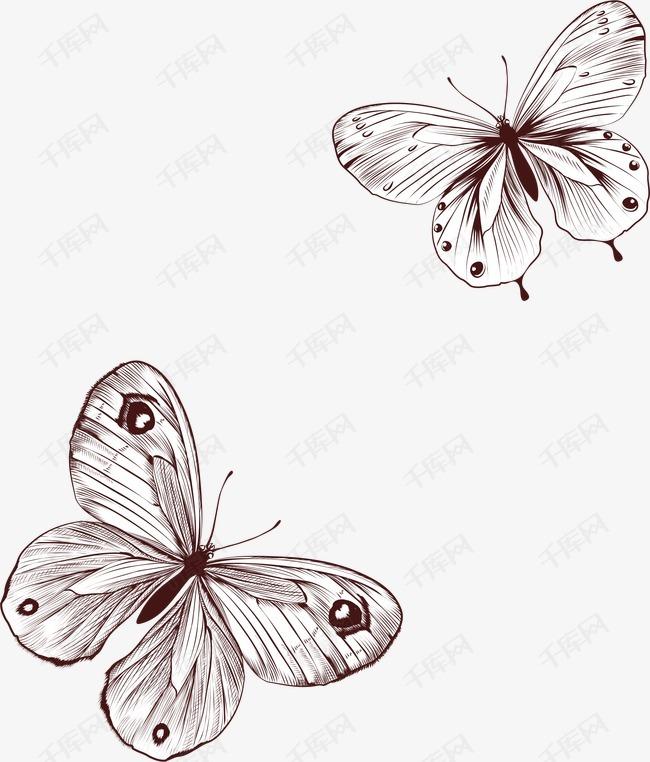 手绘蝴蝶花纹的素材免抠矢量卡通ai手绘线条花纹底纹蝴蝶背景
