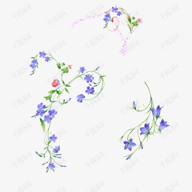 手绘紫色边框垂花素材图片免费下载 高清psd 千库网 图片编号8328533图片