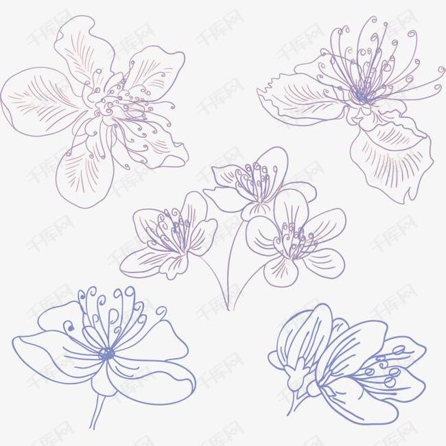 紫色手绘樱花素材图片免费下载 高清装饰图案psd 千库网 图片编号7272548