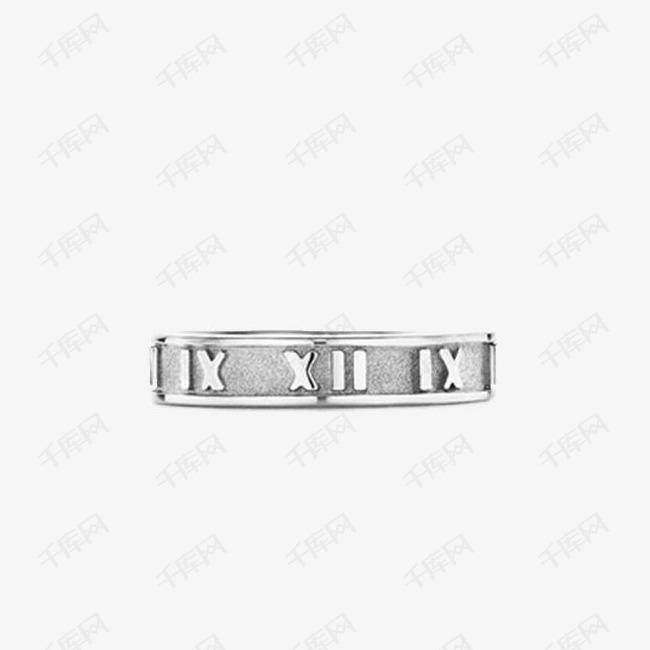 蒂芙尼纯银罗马数字浮雕戒指