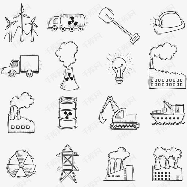 污染排放 矢量手绘污染排放简笔画png素材 90设计