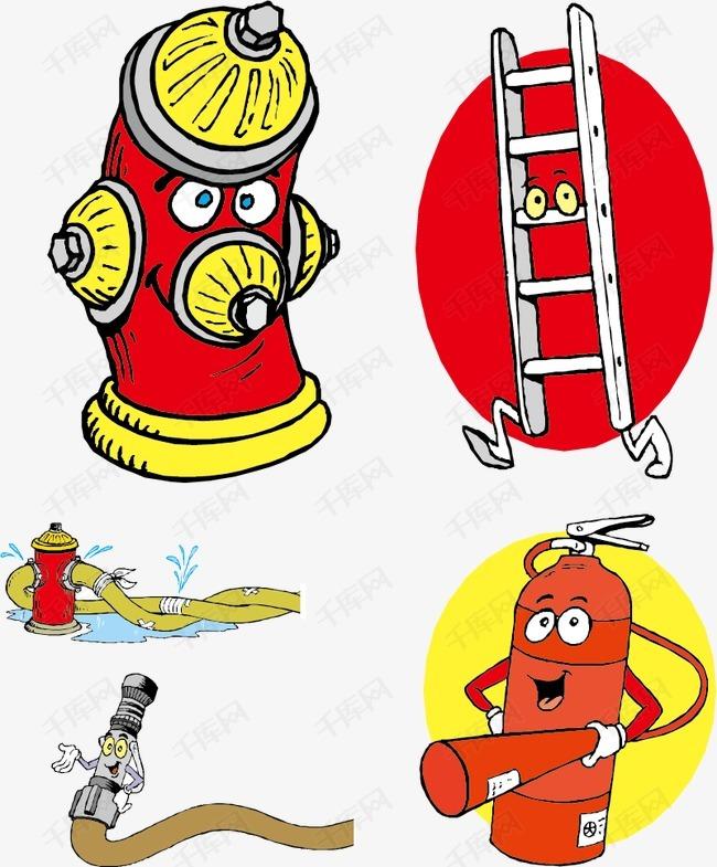 彩色手绘消防设备卡通图的素材免抠彩色手绘卡通图插图消防消防设备灭火器消火栓