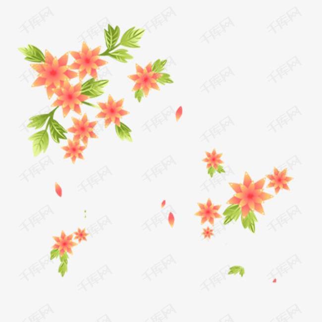 手绘开满花花瓣飞扬