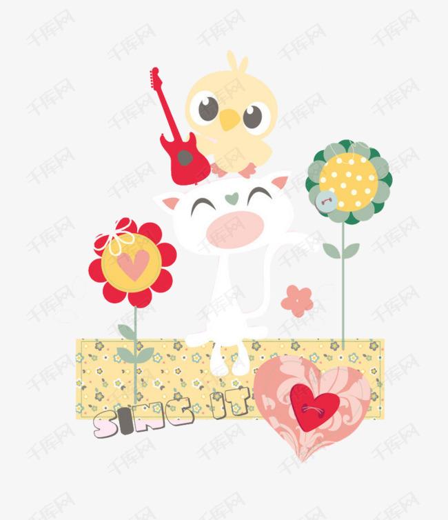 彩绘花朵小鸟