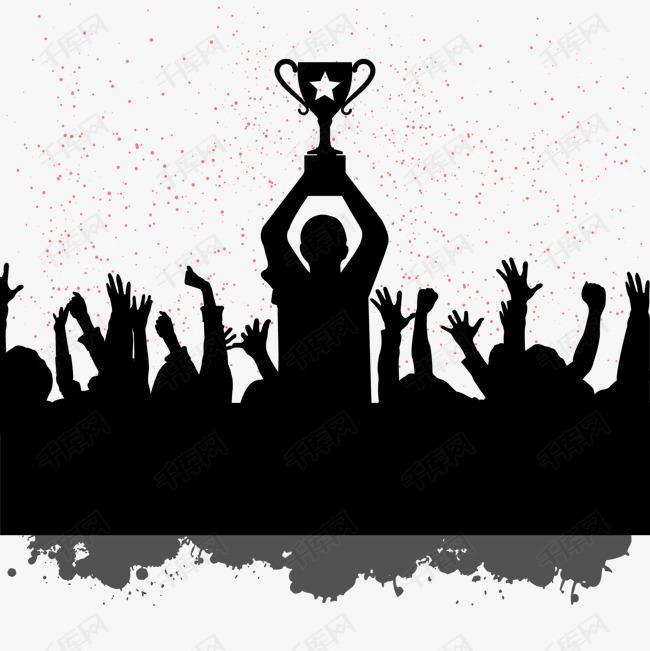 人物剪影庆祝世界冠军图片下载