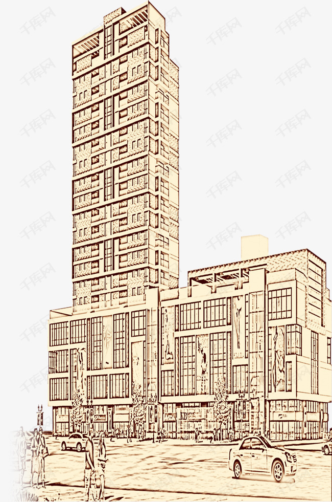 手绘高楼大厦