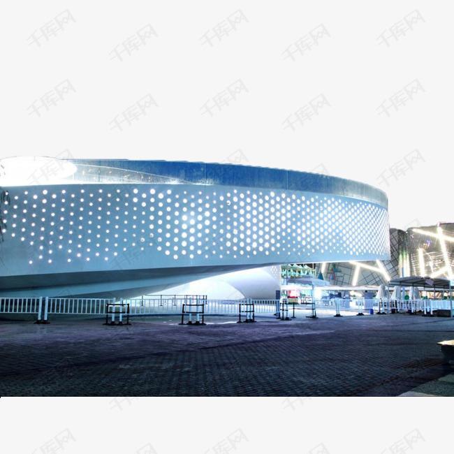 蓝色现代玻璃墙建筑