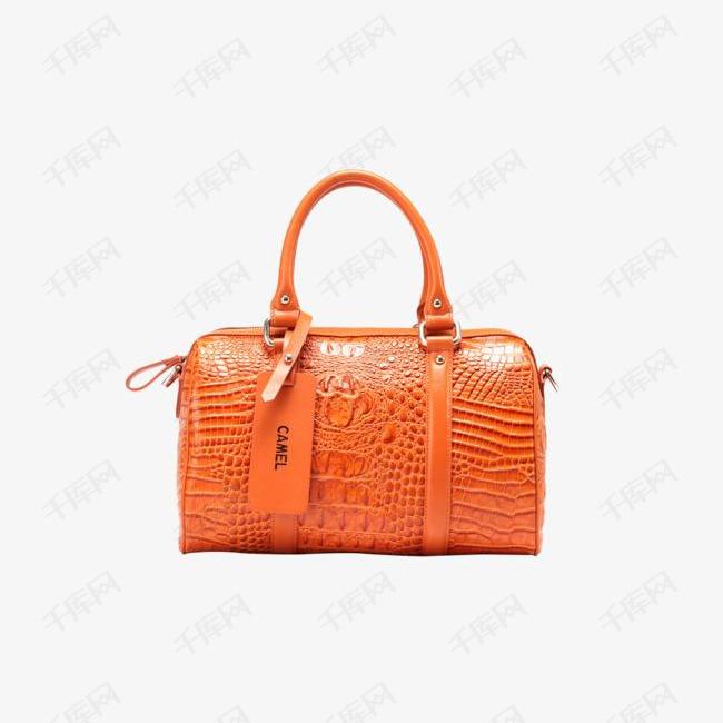 橘色经典鳄鱼手提包