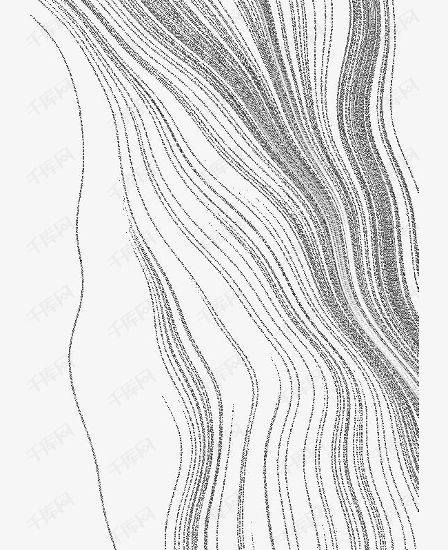 纯线条密集式的海浪