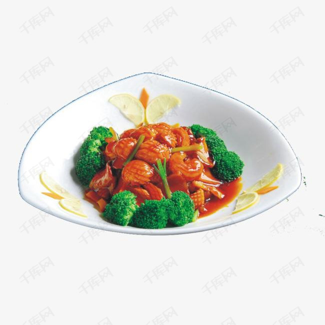 三角盘装花菜鲍鱼