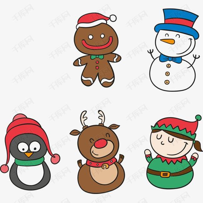 圣诞节小女孩与雪人