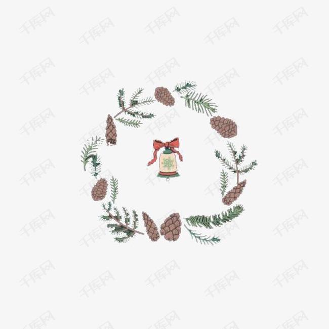 圣诞铃铛花环手绘装饰图案素材图片免费下载 高清节日素材psd 千库网 图片编号5904023