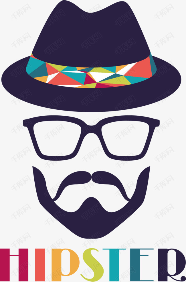 礼帽胡子眼镜印花矢量图素材图片免费下载 高清装饰图案psd 千库网 图片编号2281171