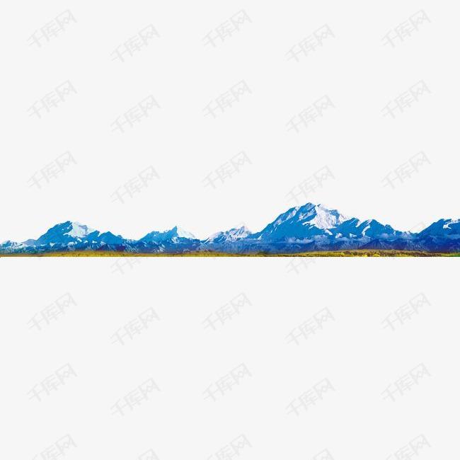远山蓝色雪山