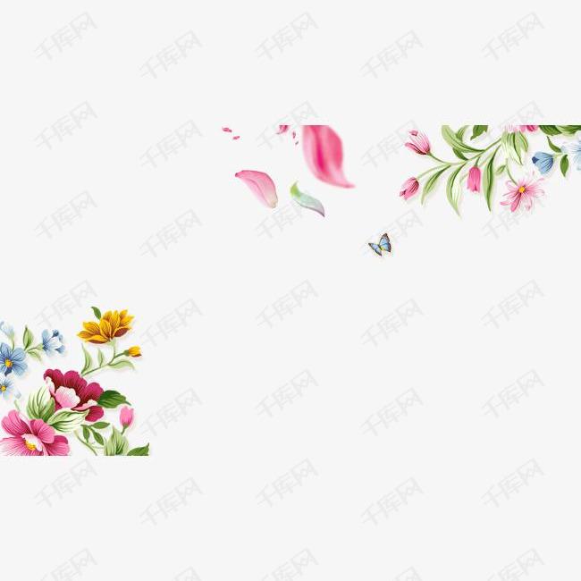 手绘花草蝴蝶边框纹理的素材免抠手绘花草蝴蝶花朵小清新花瓣飘落边框纹理免抠png
