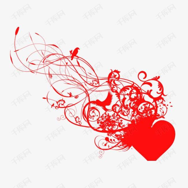 红色爱心飘带