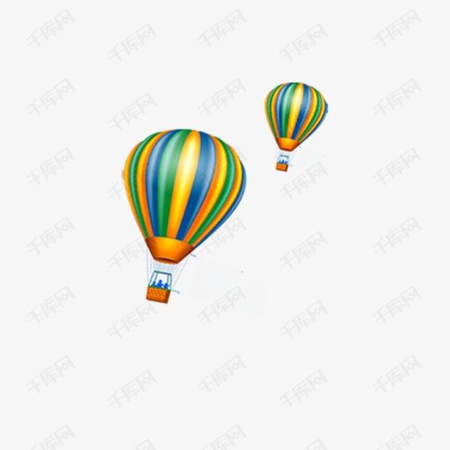 浪漫彩色热气球元素