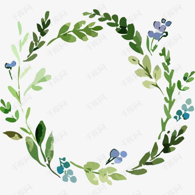 手绘水彩绘画花卉绿叶装饰花环的素材免抠手绘水彩绘画花卉绿叶装饰花环