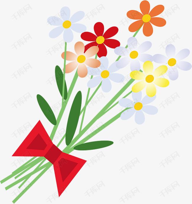 手绘绑着蝴蝶结的一束花矢量图素材图片免费下载 高清图标素材psd 千库网 图片编号7371463
