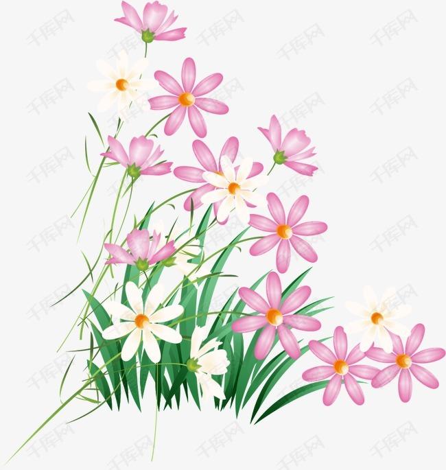 手绘花卉的素材免抠矢量卡通手绘ai线条粉色花朵鲜花花卉绿草绿色花草
