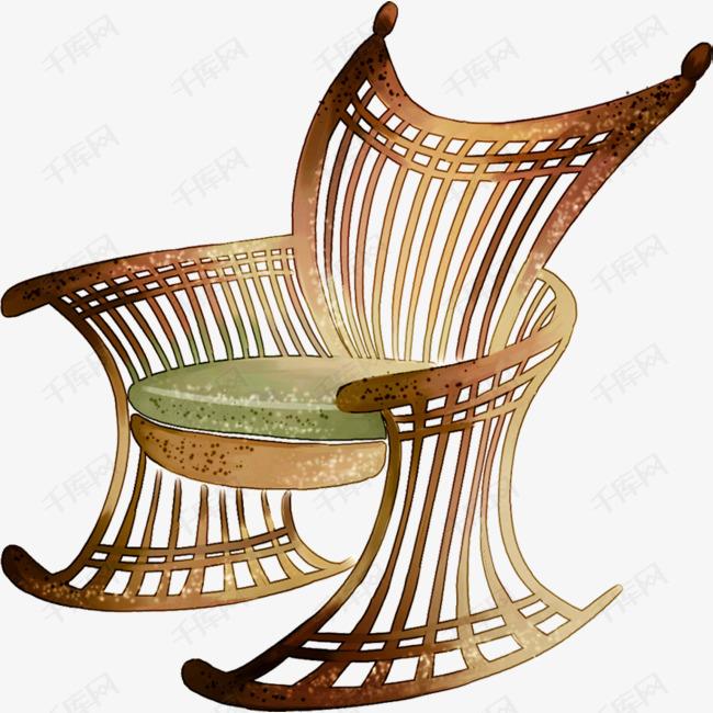 可爱插画古典椅子藤椅