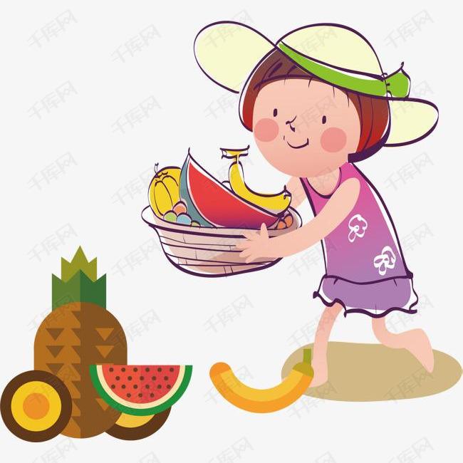 儿童拿水果