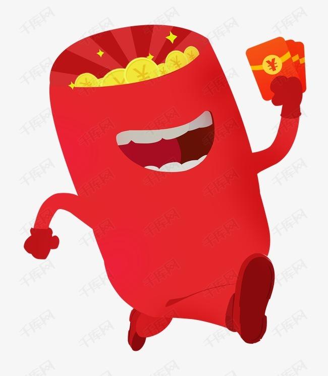 唯美精美卡通红包小人奔跑金币红
