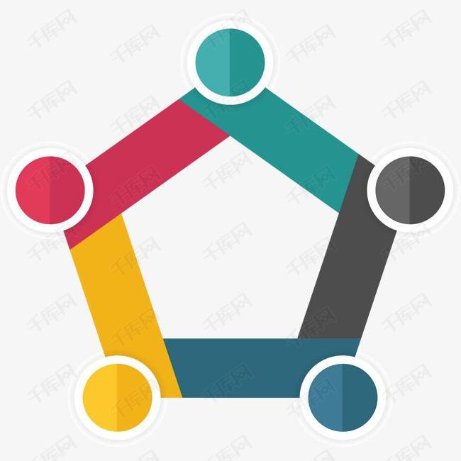 五边形彩色信息图表