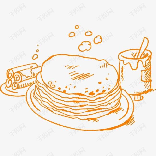 手绘早餐的素材免抠手绘橙色早餐煎饼奶茶